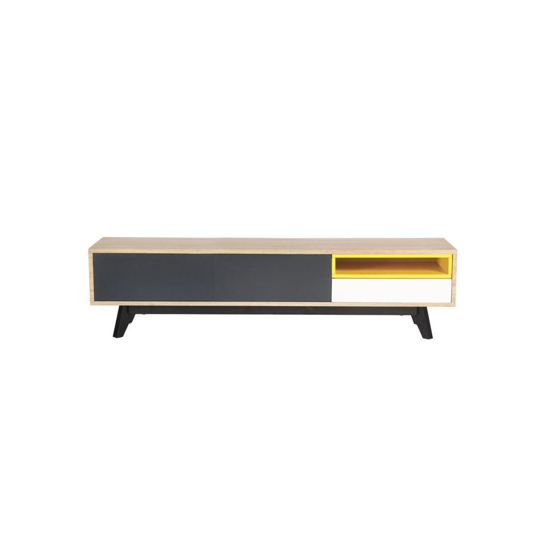 Meuble tv 2 portes 1 tiroir jaune gris blanc scud for Meuble tv a tiroir