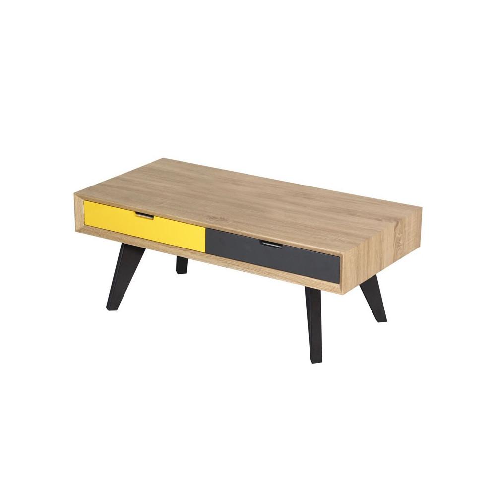 Table Basse 2 Tiroirs Gris Et Jaune Moderne Scud Univers Du Salon