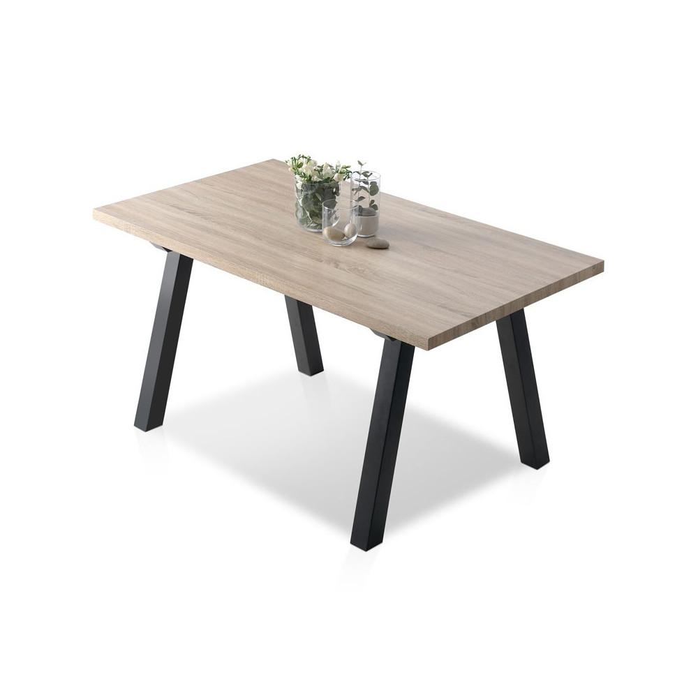Table de repas plateau bois chêne pieds bois laque noire mat - Univers Salle à Manger : Tousmesmeubles
