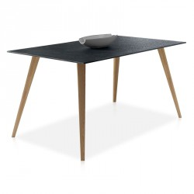 Table de repas pieds bois plateau verre imitation pierre - Univers Salle à Manger : Tousmesmeubles