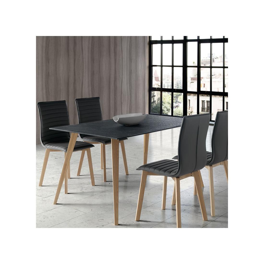 ... Table De Repas Pieds Bois Plateau Verre Imitation Pierre   Univers Salle  à Manger : Tousmesmeubles
