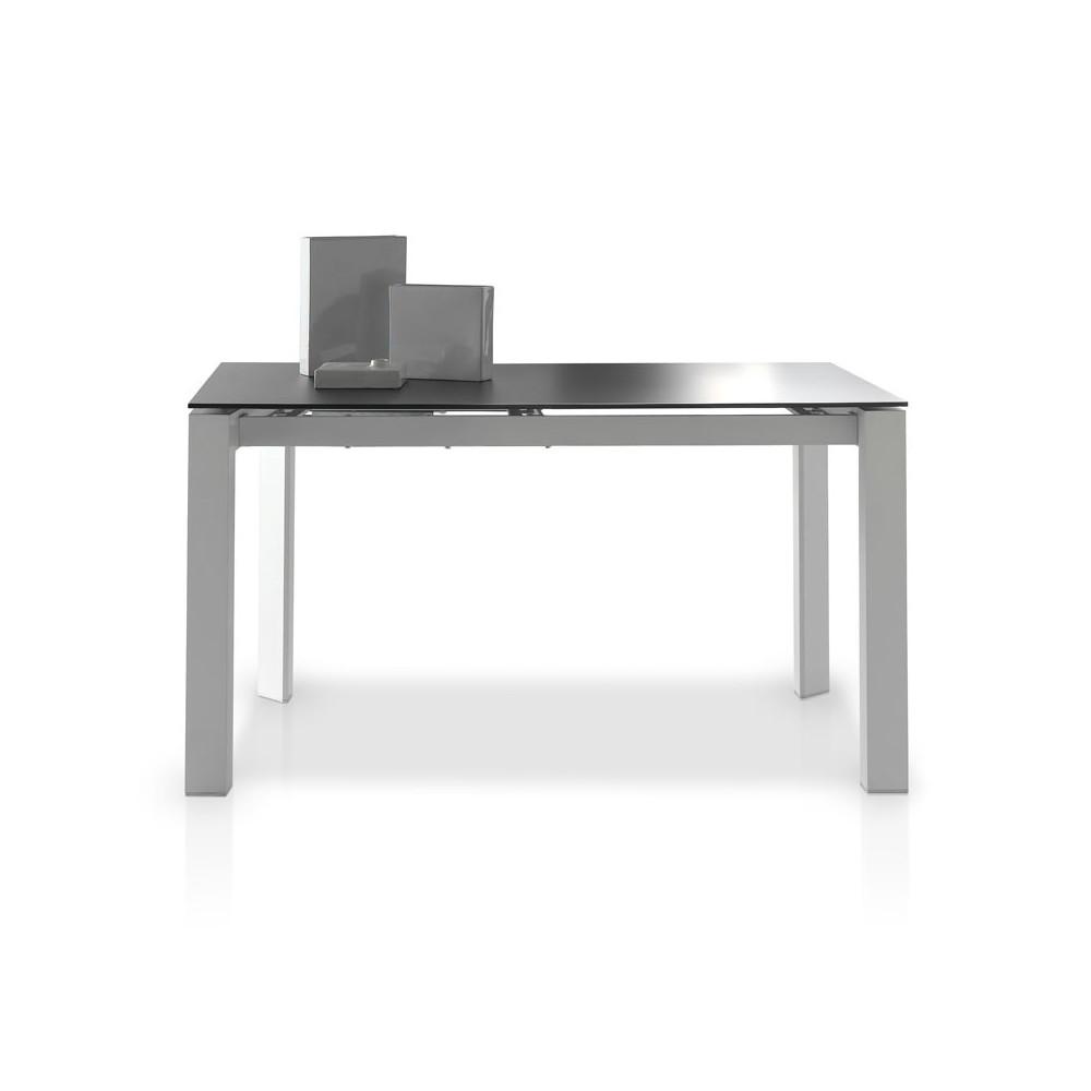 Table de repas allonge plateau verre givr noir mista for Table sam extensible