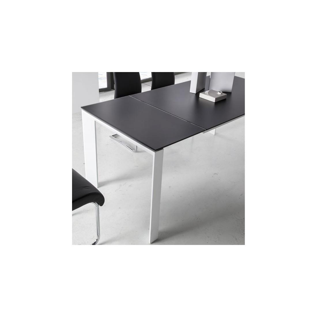 table de repas allonge plateau verre givr noir mista univers sam. Black Bedroom Furniture Sets. Home Design Ideas