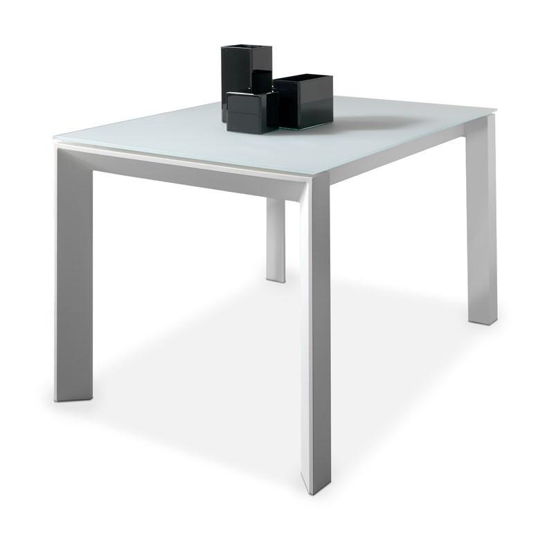 Table de repas à allonge piétement métal blanc laque plateau verre trempé blanc - Univers Salle à Manger : Tousmesmeubles