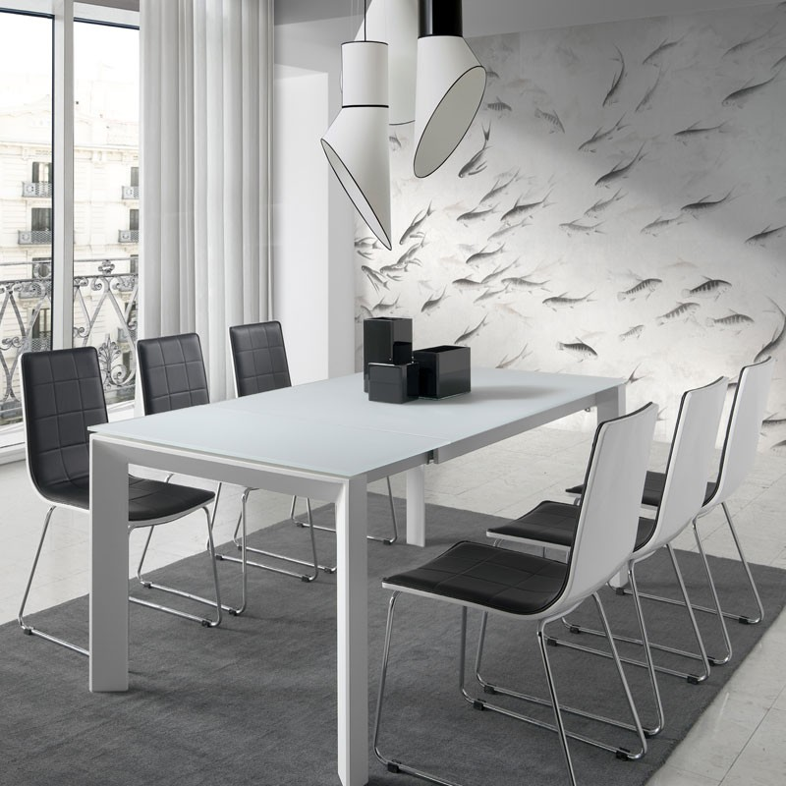 Superieur ... Table De Repas à Allonge Piétement Métal Blanc Laque Plateau Verre  Trempé Blanc   Univers Salle