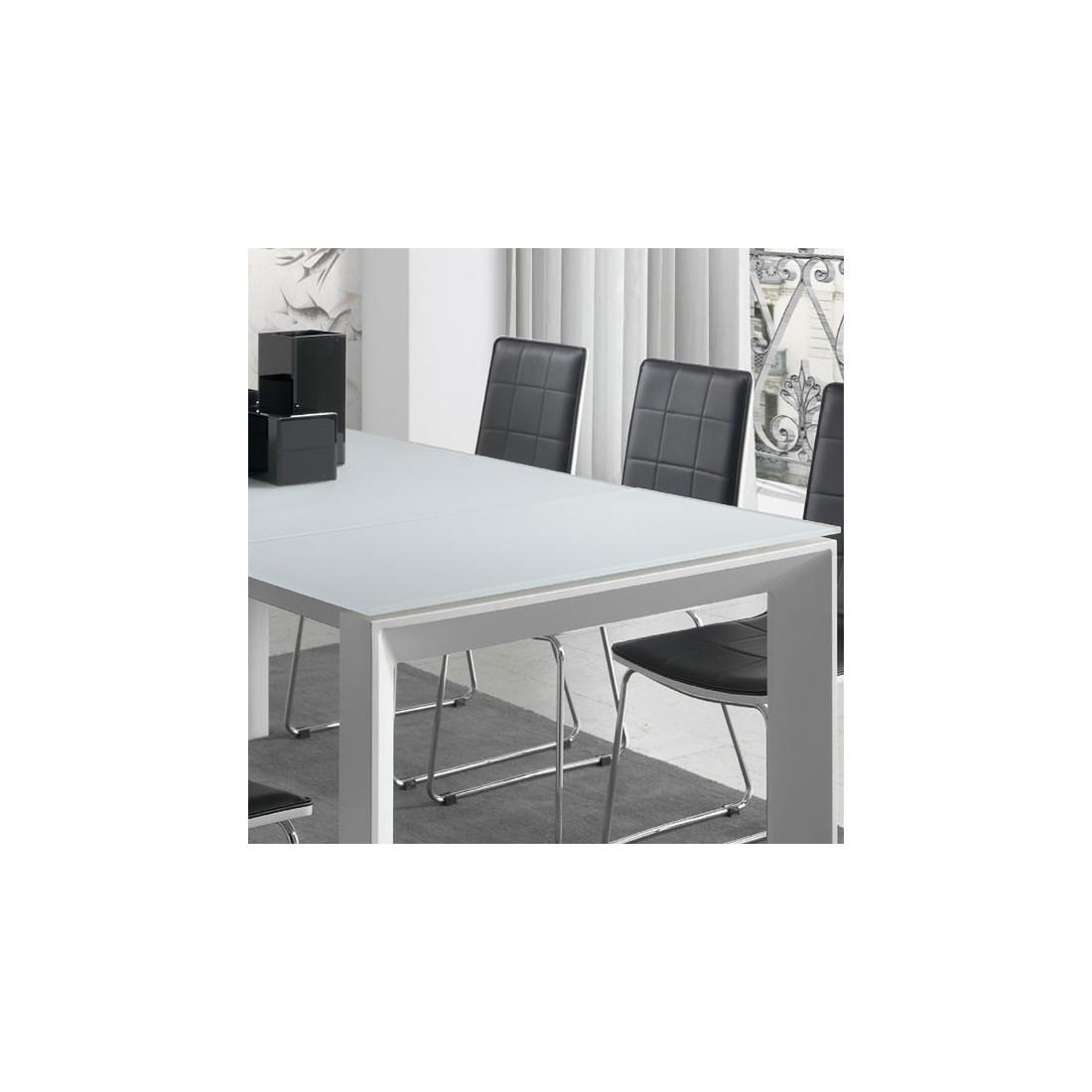 Table de repas allonge plateau verre givr blanc mista - Plateau de table blanc laque ...