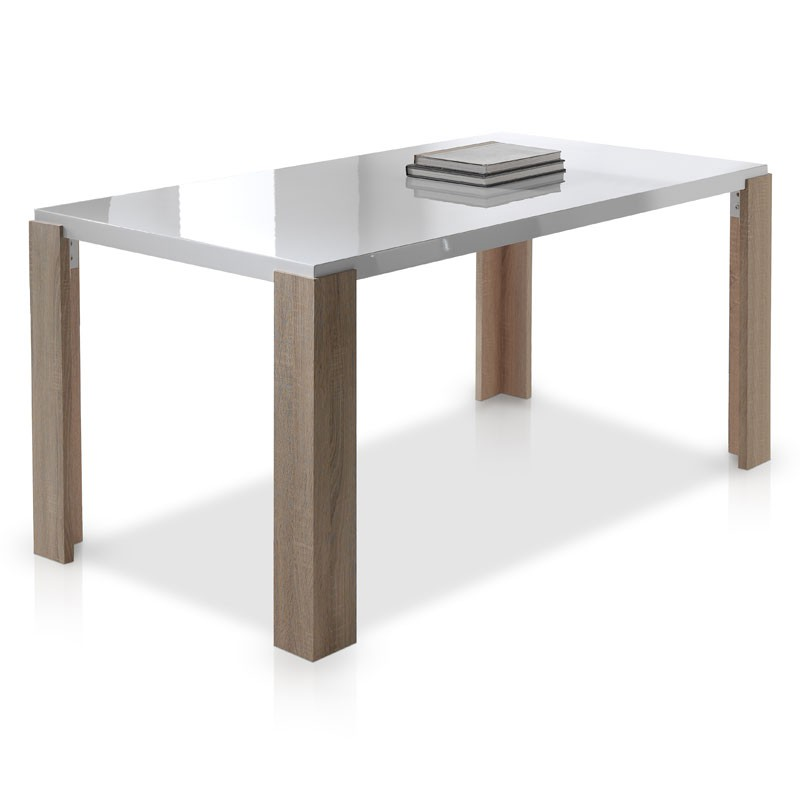 table de repas blanc laque et bois brali univers de la salle manger. Black Bedroom Furniture Sets. Home Design Ideas