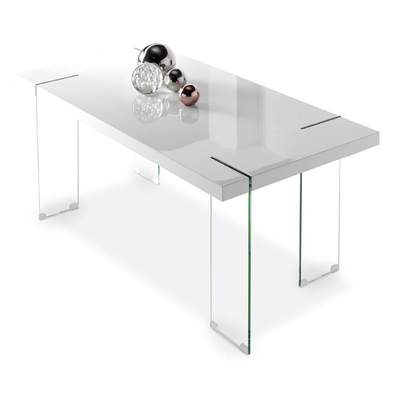 Table de repas verre et bois blanc - Univers Salle à Manger : Tousmesmeubles