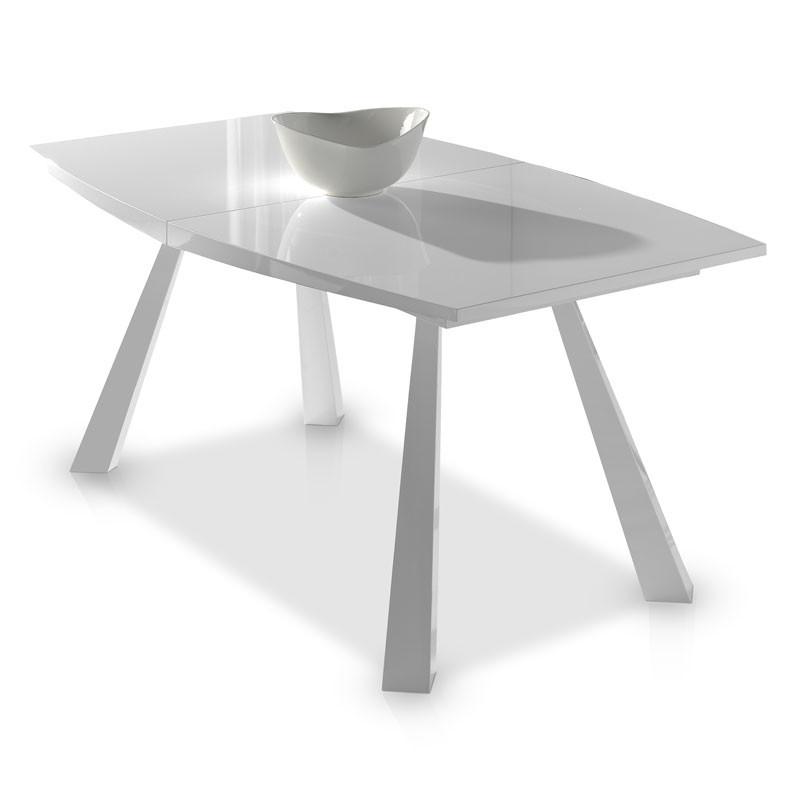 Table de repas à allonges piétement métal blanc et plateau bois blanc brillant - Univers Salle à Manger : Tousmesmeubles