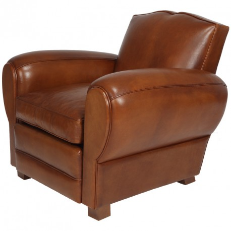 Fauteuil Club Cuir Marron Ressorts plats CAMBRIDGE Univers Assises