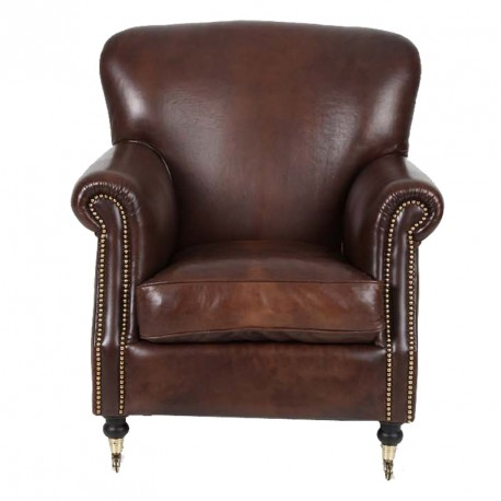 fauteuil club cuir marron ressorts plats hampshire univers assises. Black Bedroom Furniture Sets. Home Design Ideas