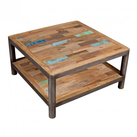Table basse carr e 2 plateaux bois recycl modernity univers du salon - Table basse carree metal ...