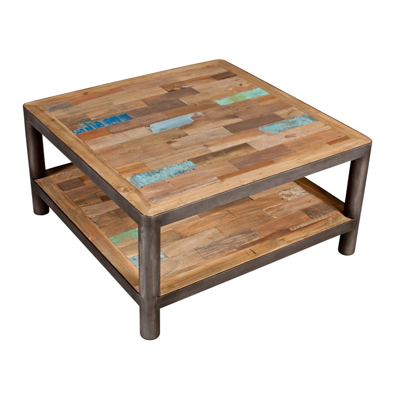 Table basse carr e 2 plateaux bois recycl modernity for Table haute de salon