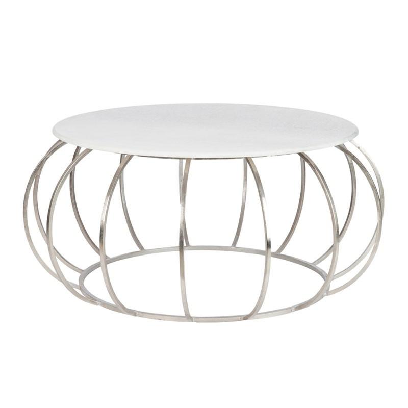 Table de salon ronde plateau en marbre et structure en métal argenté - Univers salon : Tousmesmeubles