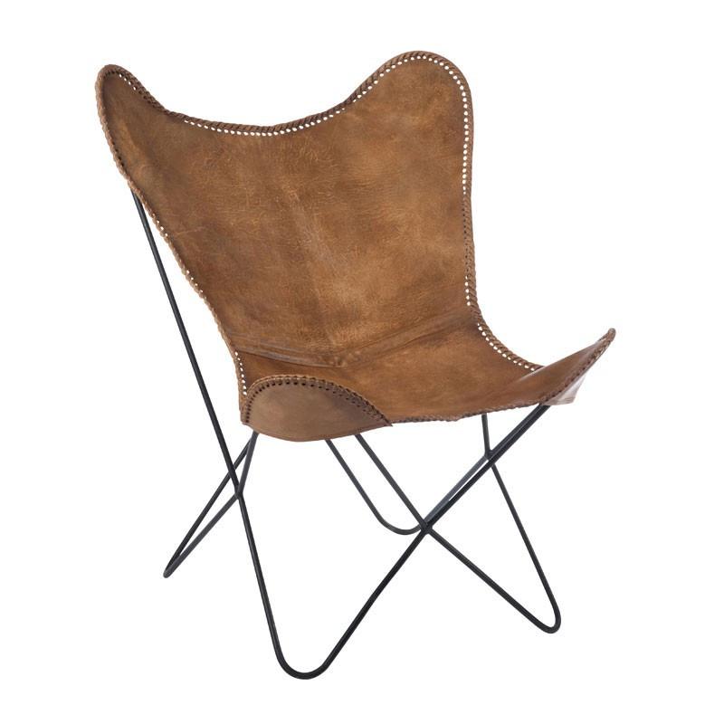 Chaise Lounge Cuir/Métal Cognac Fauteuil industriel naturel - Univers des Assises : Tousmesmeubles