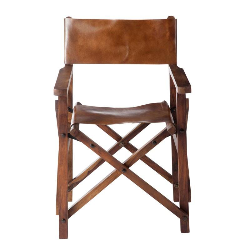 Chaise de Réalisateur Pliable Bois/Cuir Cognac - HOHA