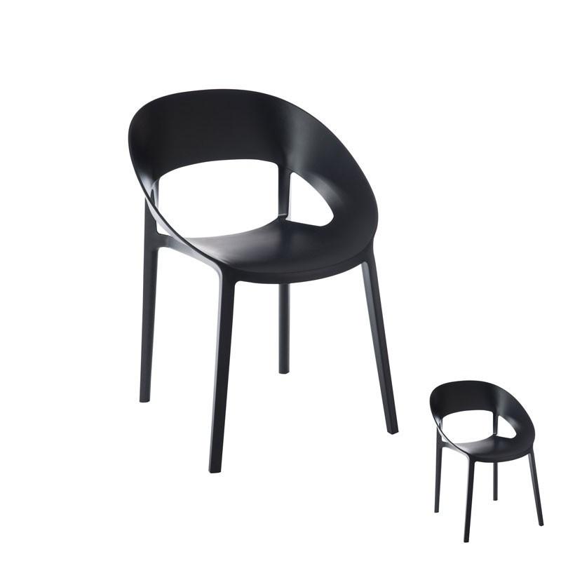 Duo de chaises Noir ambiance contemporaine en plastique - Univers des Assises : Tousmesmeubles