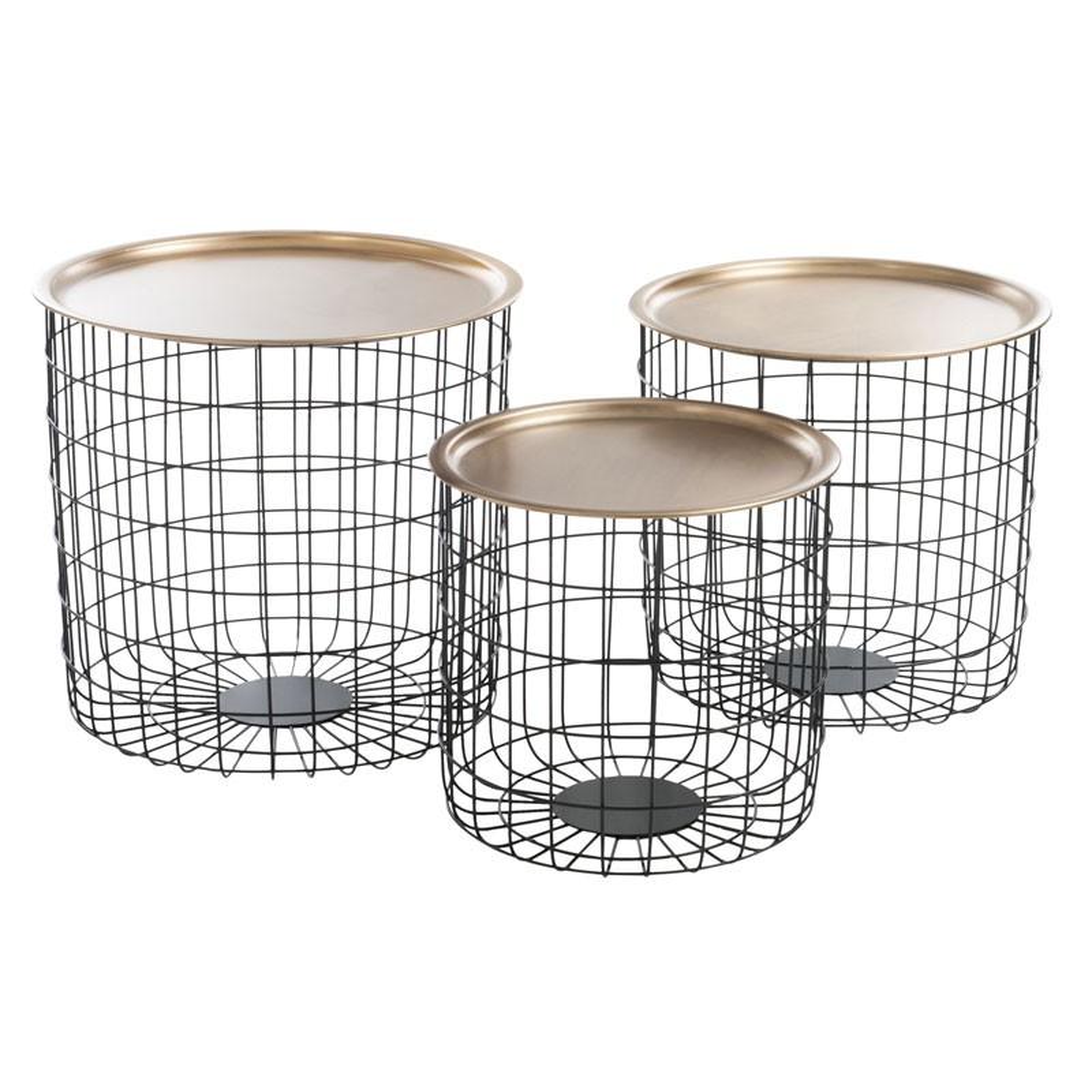 trio de tables de salon pieds noir et plateau or univers. Black Bedroom Furniture Sets. Home Design Ideas