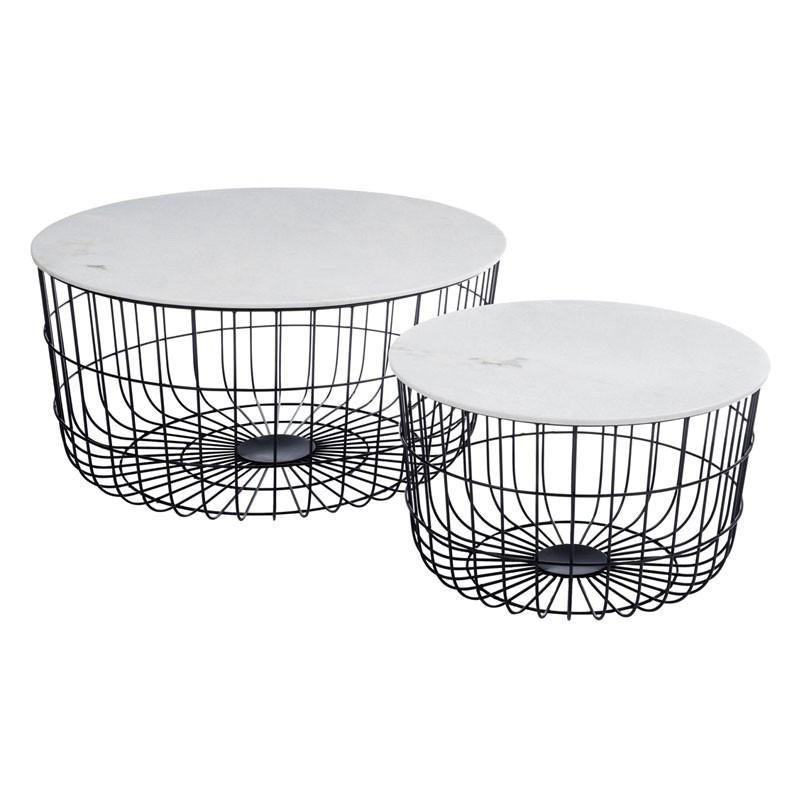 Set 2 tables gigognes Marbre/Noir Ambiance industrielle et bout du monde - Univers Petits Meubles : Tousmesmeubles