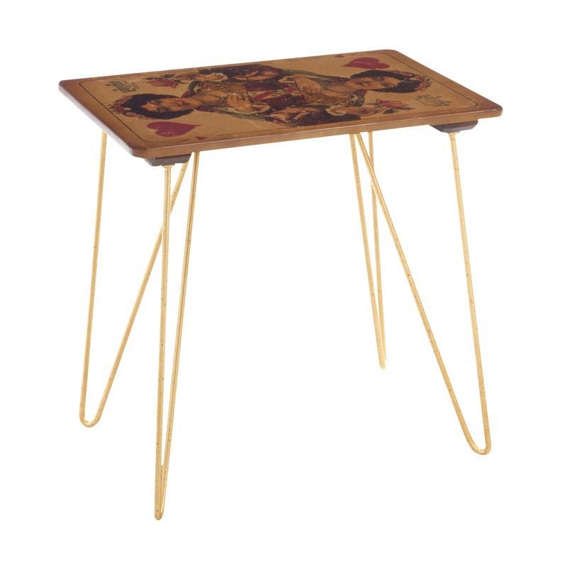 Table Haute Dame de Coeur en bois et en métal style industriel - Univers Petits Meubles : Tousmesmeubles