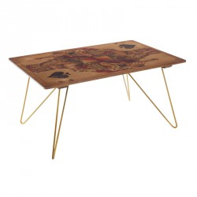 Table basse Roi de pique style industriel en bois et métal - Univers du Salon : Tousmesmeubles