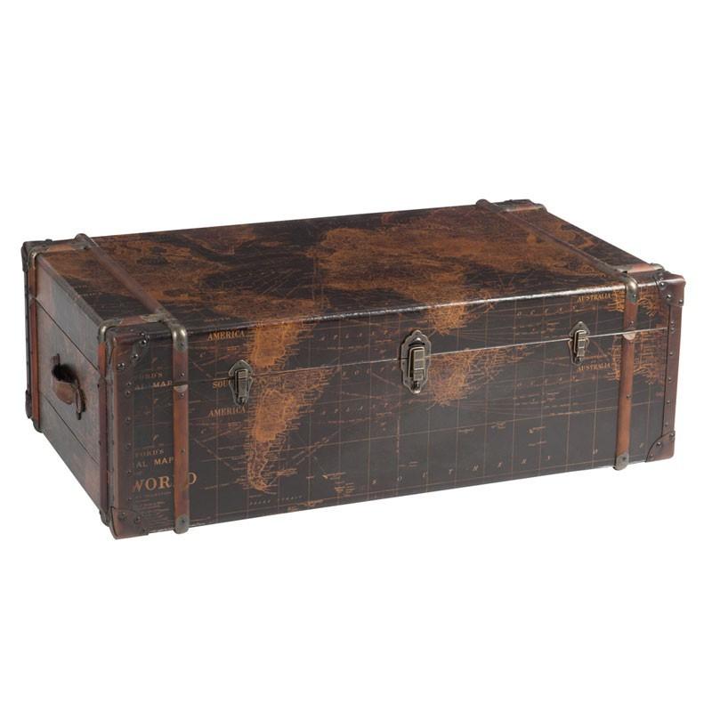 Table basse Coffre carte du monde en bois et métal  Marron avec 2 tiroirs - Univers Salon : Tousmesmeubles