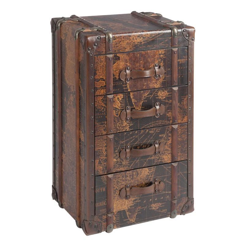 Armoirette 4 tiroirs en bois Carte du Monde - Univers Petits Meubles : Tousmesmeubles