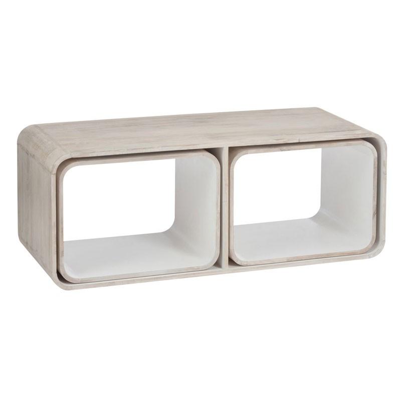 Tabble basse 3 parties rétro en bois décor bois et blanc - Univers du Salon : Tousmesmeubles