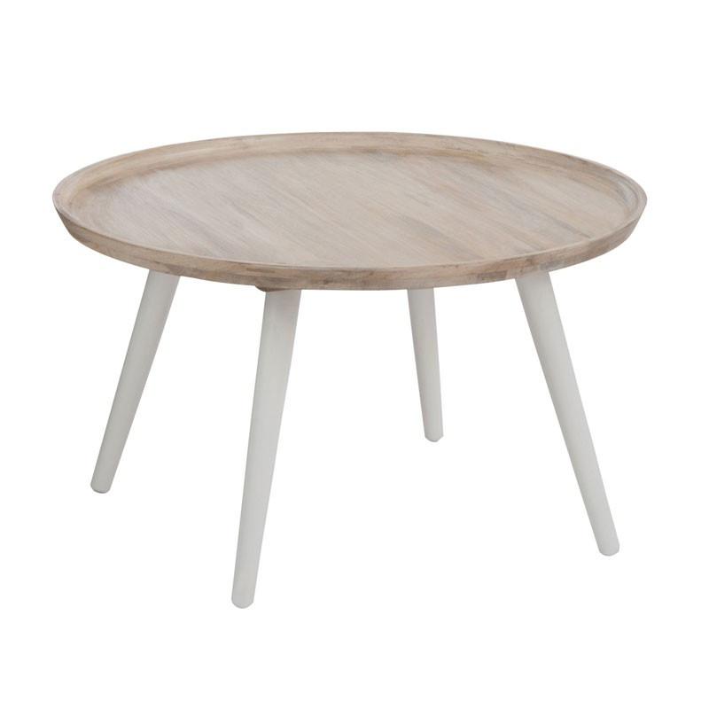 Table basse ronde Bois/Blanc naturel style Moderne Bord de Mer - Univers du Salon : Tousmesmeubles