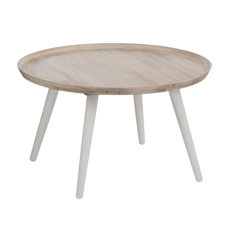 Table basse salon ronde bois for Table bois blanc