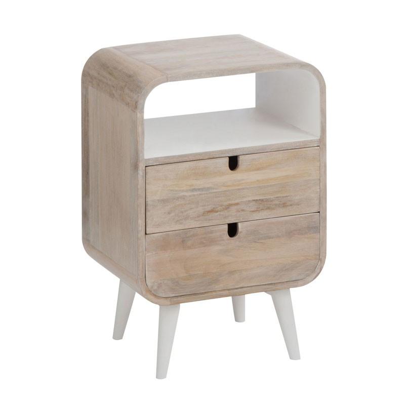 Table de chevet 2 tiroirs 1 niche Bois/Blanc ambiance moderne et bord de mer - Univers de la Chambre : Tousmesmeubles