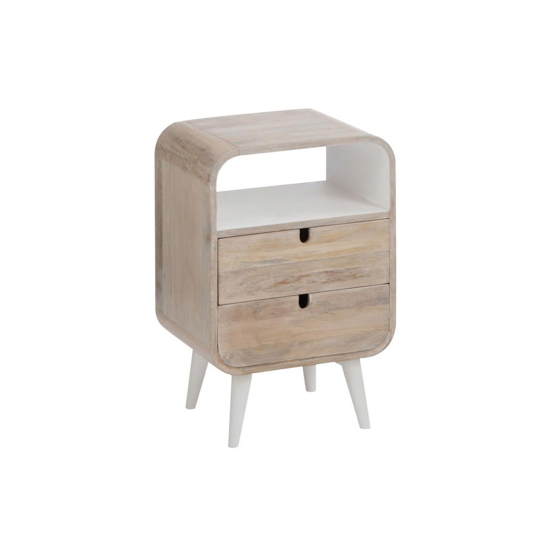 Table de chevet 2 tiroirs bois blanc metro univers de la - Table de chevet bois blanc ...
