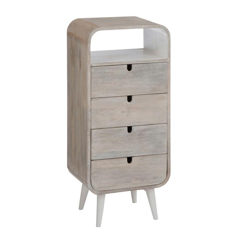 Commode 4 tiroirs Bois/Blanc ambiance moderne et bord de mer - Univers de la Chambre : Tousmesmeubles
