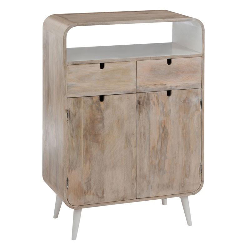 Armoire 2 tiroirs 2 portes 1 niche Bois/Blanc ambiance moderne et bord de mer - Univers Petits Meubles : Tousmesmeubles