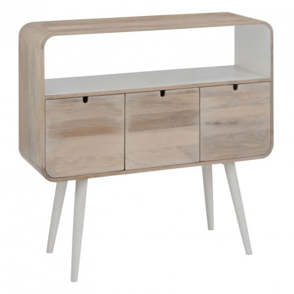 Console 3 tiroirs 1 niche Bois/Blanc Ambiance Moderne et Bord de mer - Univers Petits Meubles : Tousmesmeubles