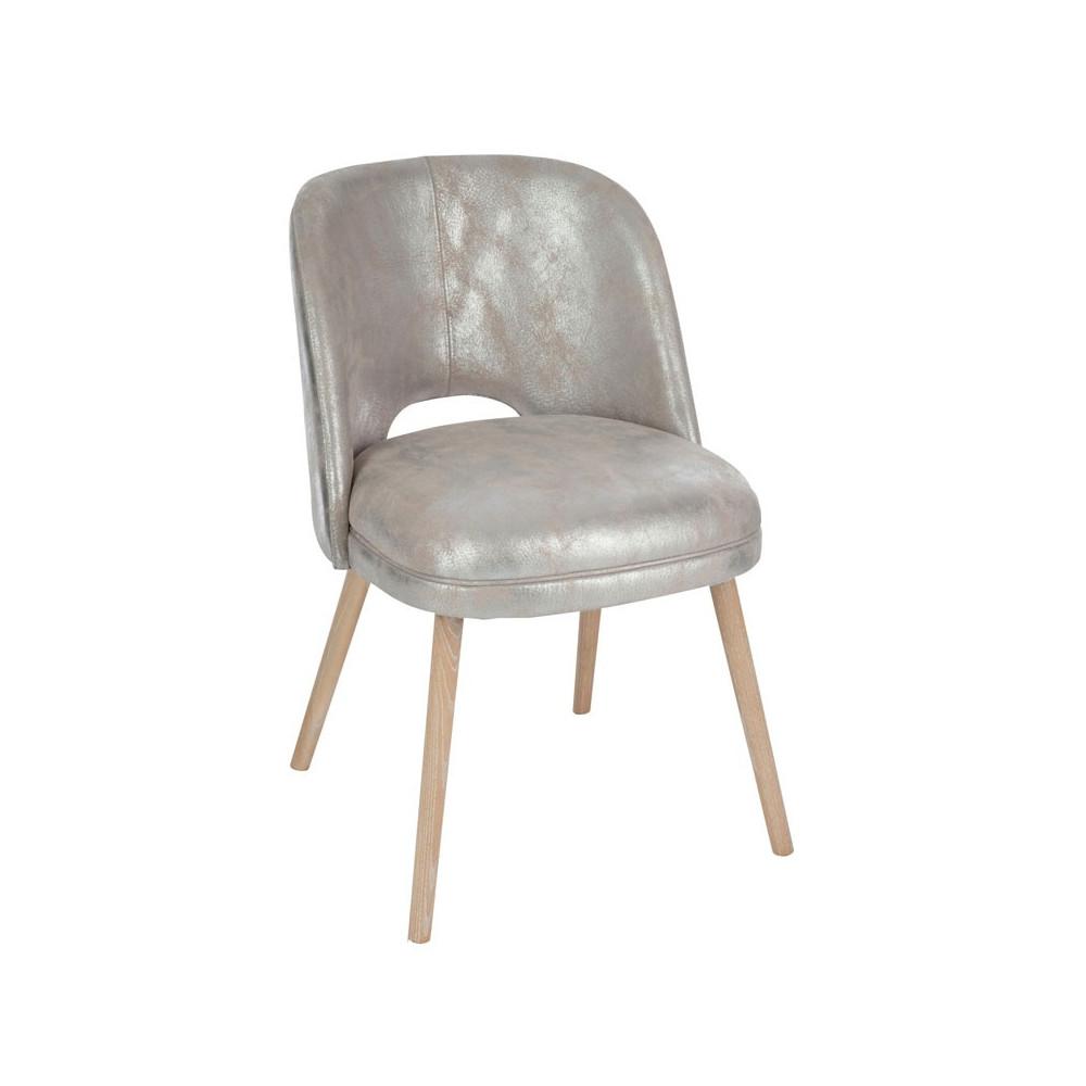 Chaise en Cuir Argent Moderne Structure en Bois Style contemporain - Univers du Salon : Tousmesmeubles