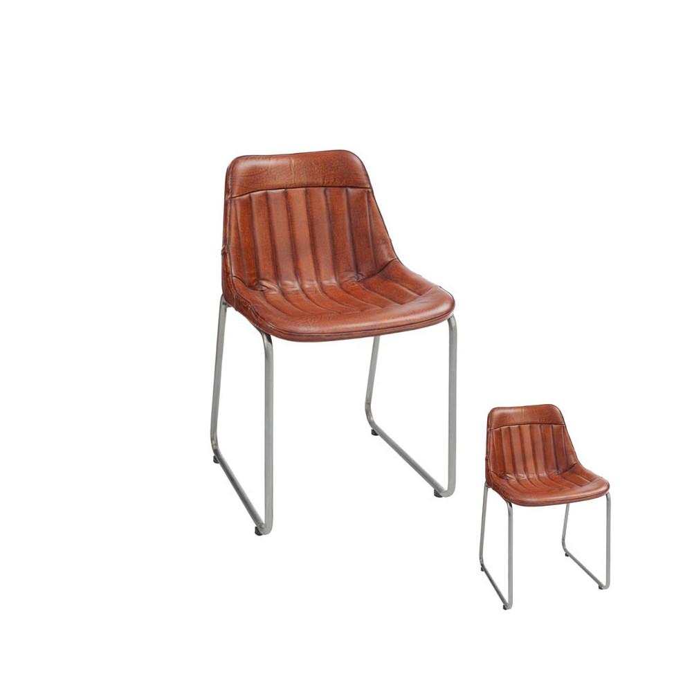 Duo de Chaises Loft Cuir Cognac Ambiance Vintage - Univers des Assises : Tousmesmeubles