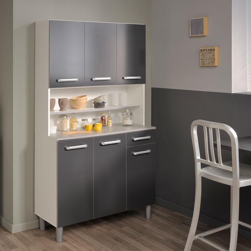Buffet de cuisine rangement gris - Univers Cuisine : Tousmesmeubles