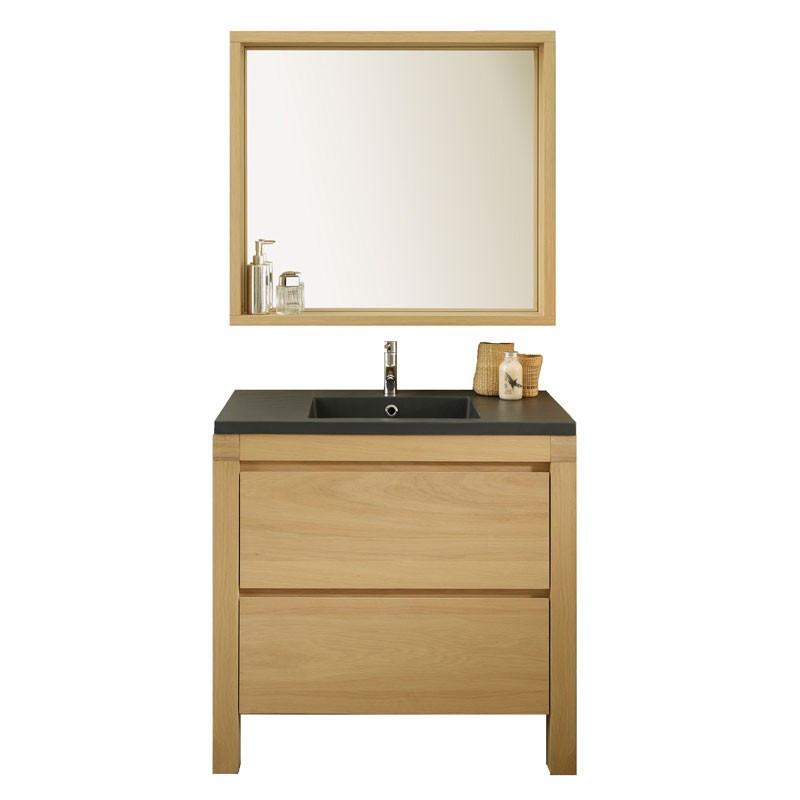 Meuble + Miroir de Salle de Bain bois - Univers Salle de Bain : Tousmesmeubles