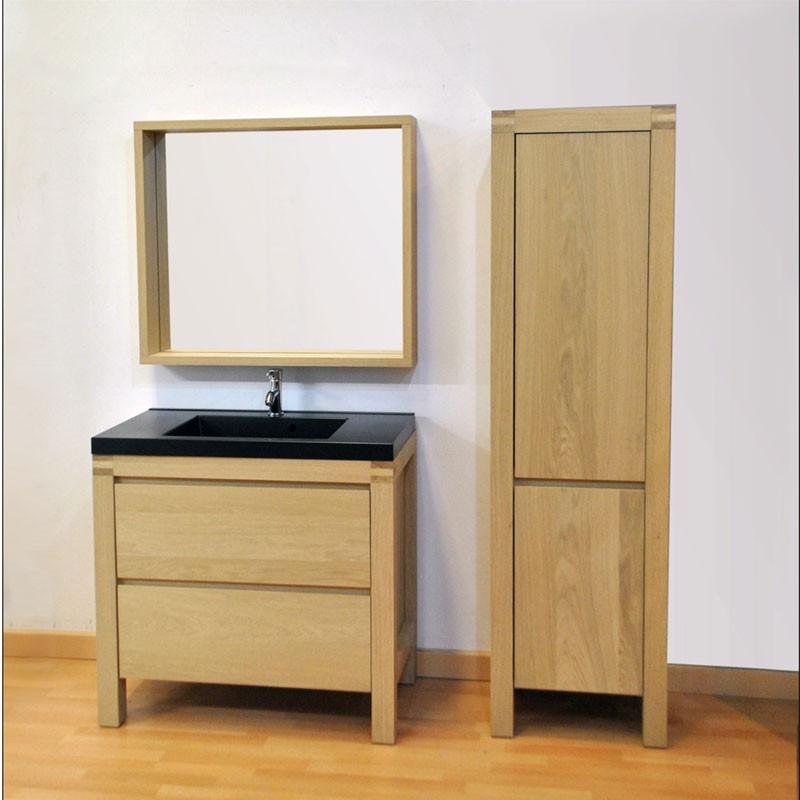 Meuble + Miroir + Colonne de Salle de Bain bois - Univers Salle de Bain : Tousmesmeubles