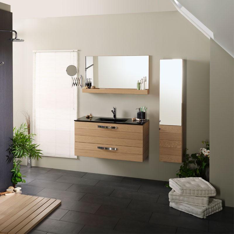 Meuble avec vasque + Miroir + Colonne de Salle de Bain bois chêne clair - Univers Salle de Bain : Tousmesmeubles