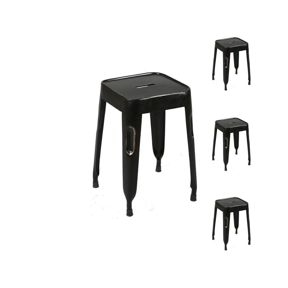 Quatuor de tabourets métal noir indsutriel OLIVER - Univers Assises : Tousmesmeubles