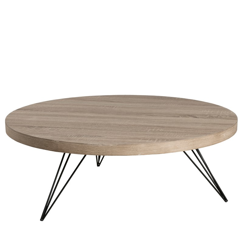 Table basse ronde ch ne gris liana univers du salon for Table scandinave grise