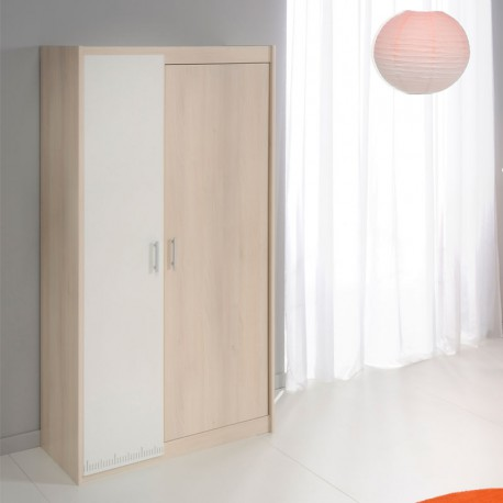 Armoire 2 portes battantes bois blanc et bois naturel acacia - Univers Chambre : Tousmesmeubles