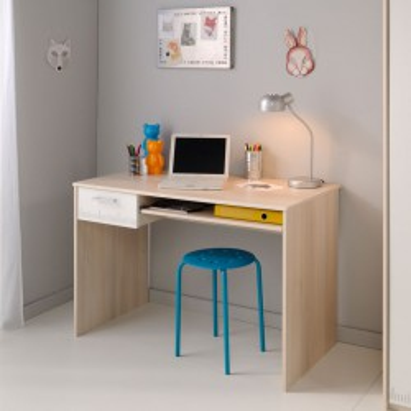 Bureau bois naturel acacia 1 tiroir bois blanc 1 niche - Univers Bureau : Tousmesmeubles