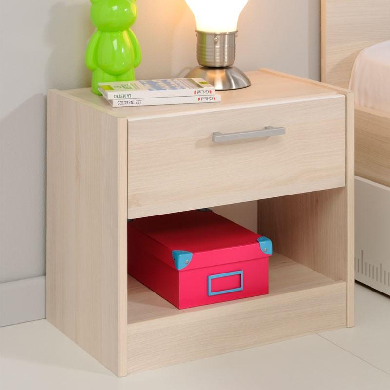 Table de chevet 1 tiroir 1 niche bois clair acacia - Univers Chambre : Tousmesmeubles