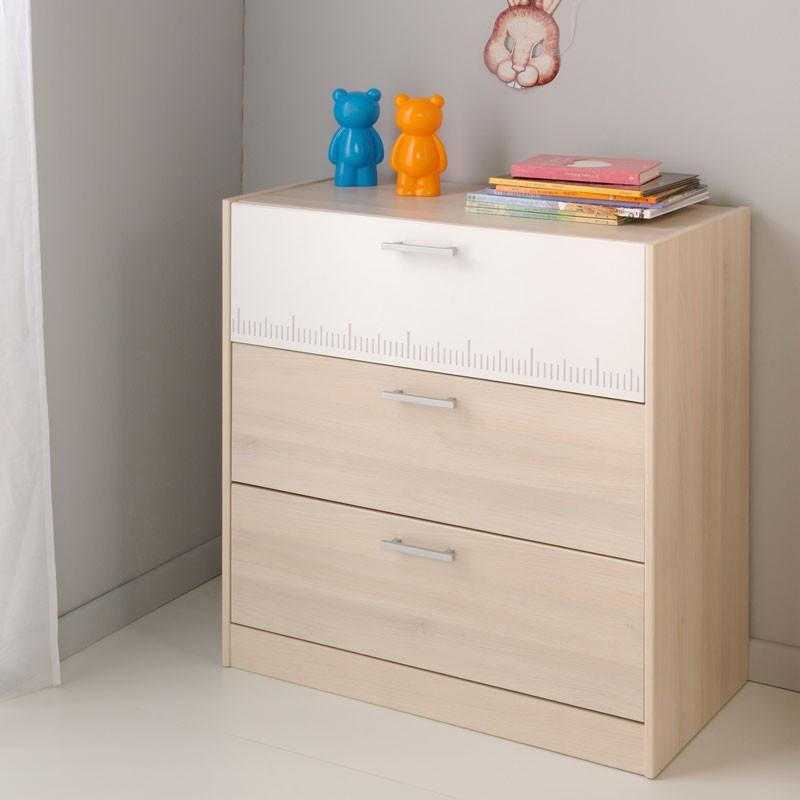 Commode 3 tiroirs enfant bois blanc et bois clair - Univers Chambre : Tousmesmeubles