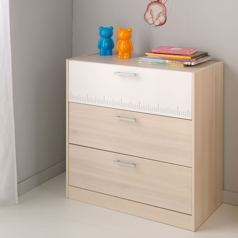 commode enfant 3 tiroirs acacia clair blanc price univers chambre. Black Bedroom Furniture Sets. Home Design Ideas