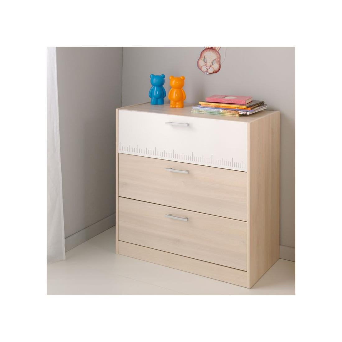 commode enfant 3 tiroirs acacia clair blanc price univers chambre. Black Bedroom Furniture Sets. Home Design Ideas