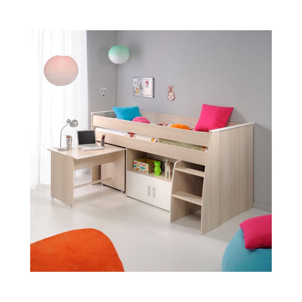 Lit enfant combiné surélevé bureau bois clair - Univers Chambre : Tousmesmeubles